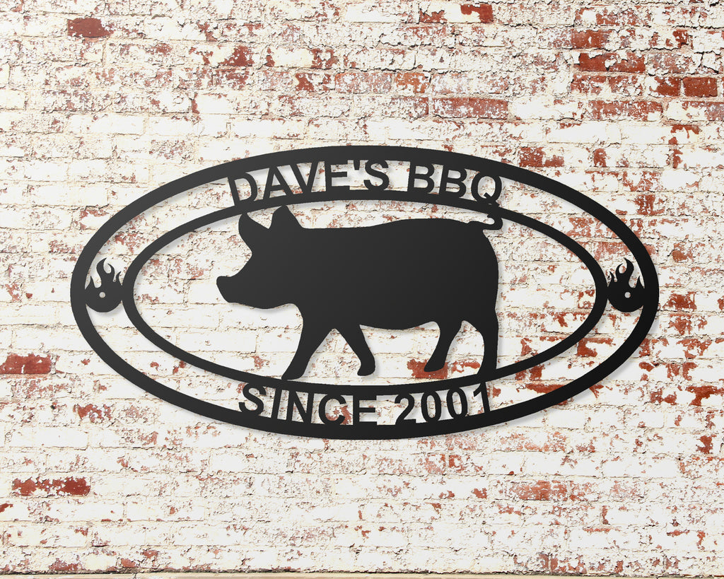 BBQ pig custom metal sign