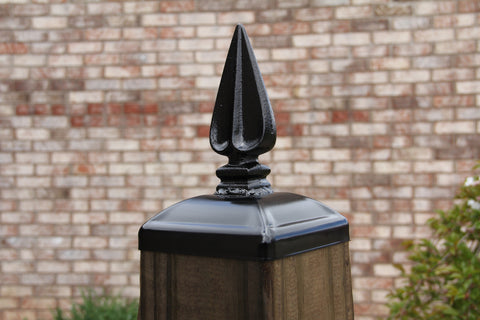Wrought Iron Grecian Spear Post Cap For 6x6 Wood