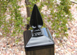 Wrought Iron Grecian Spear Post Cap for 6x6 wood / composite Post, Gate, Fence, Mailbox post cap