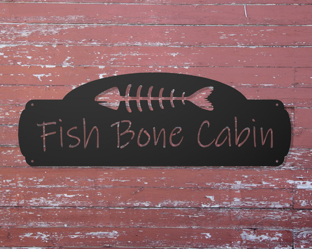 fishbone personalized cabin sign