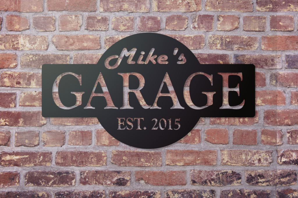 garage sign signs personalized custom monogram cave gift gifts steel madisonironandwood fathers husband garages metal wood personal unique iron date