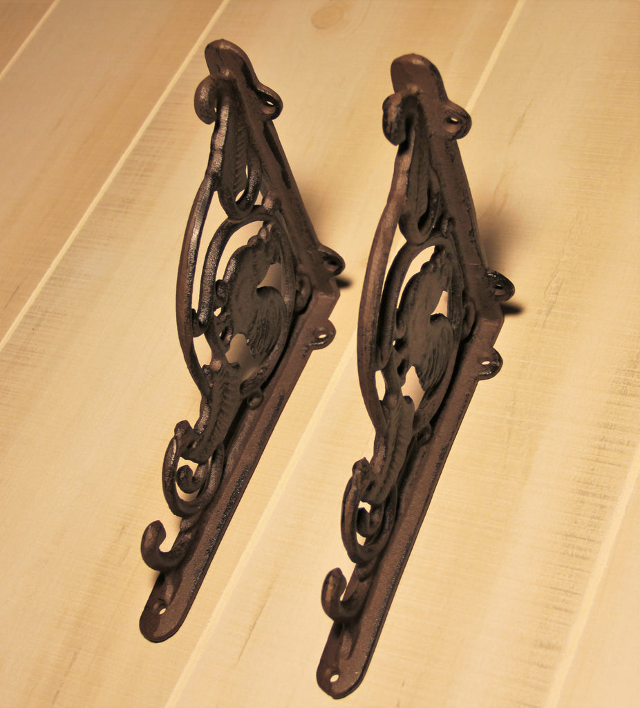 Picture of: Country Style Wrought Iron Chicken Design Shelf Bracket Madison Iron And Wood