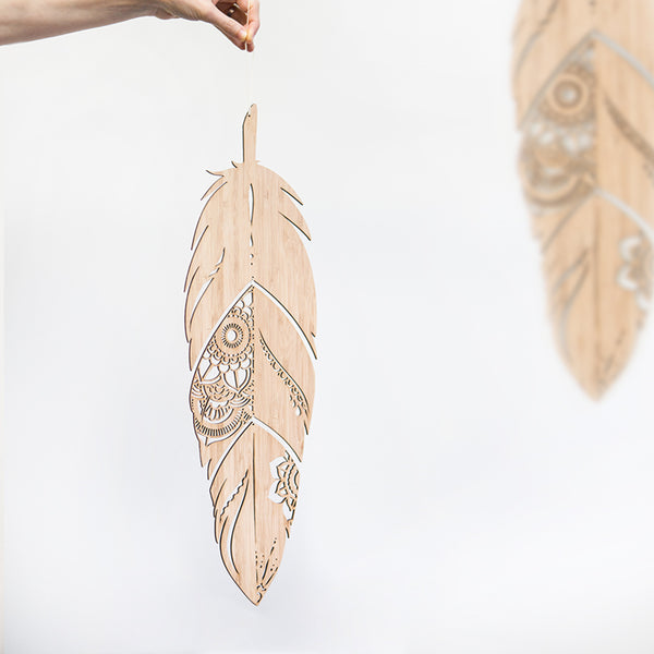 Medium Mandala Feather - Cut through