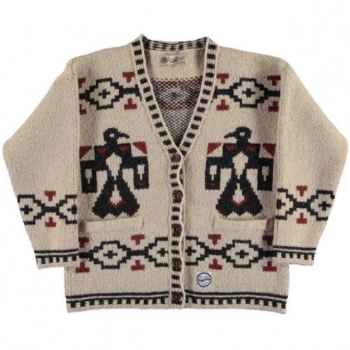 Women's native cardigan by Girls of Dust and Eat Dust. Winter wear, wool blend cardigan.