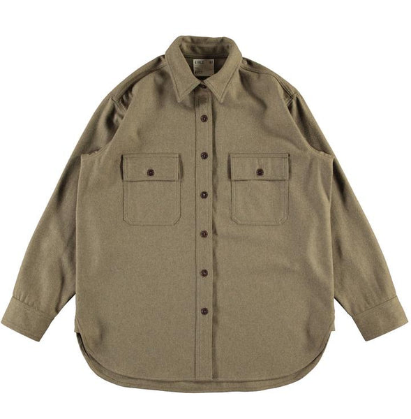 DECK SHIRT ELBA WOOL - KHAKI, shirt, eat dust, Mr Mullan's General Store, [variant_title], [option1], [option2], [option3]. We recommend using the default value. Default value is: DECK SHIRT ELBA WOOL - KHAKI - Mr Mullan's General Store