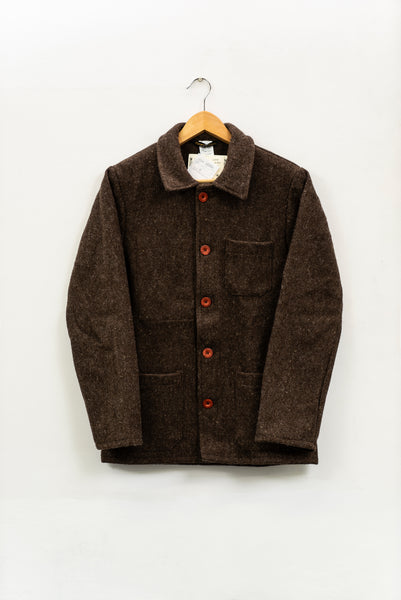 FRENCH WORK WEAR JACKET - WOOL (3 colours available), jacket, Le Laboureur, Mr Mullan's General Store, XS / Brown, XS, Brown, [option3]. We recommend using the default value. Default value is: FRENCH WORK WEAR JACKET - WOOL (3 colours available) - Mr Mullan's General Store