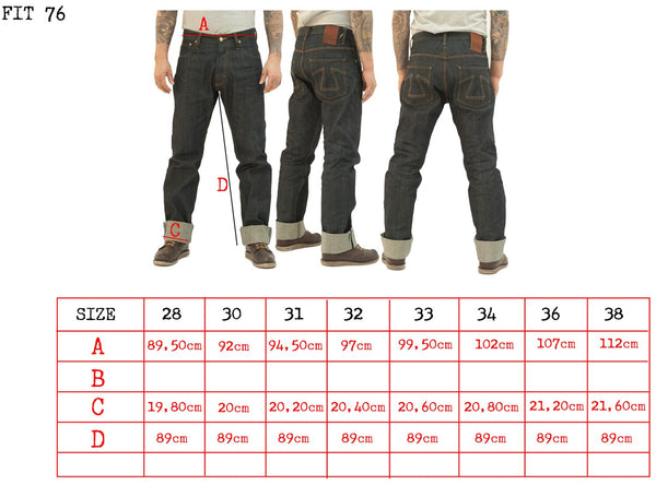size guide for fit 76 denim jeans in a straight regular cut by EAT DUST. eAT DUST BIKER CLOTHING.