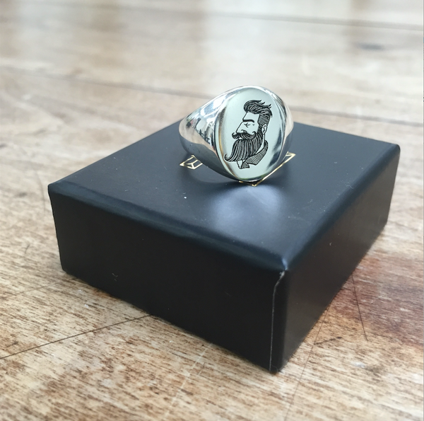 Silver round mens signet ring