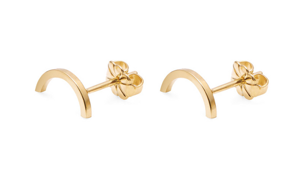 gold earrings womens arc stud - myia bonner