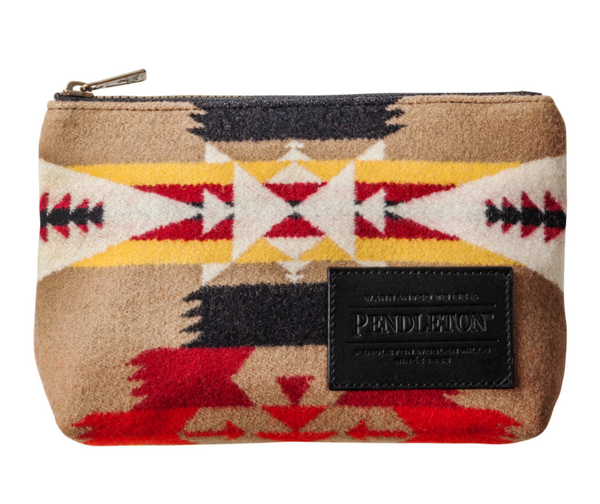 zip pouch made from wool by pendleton made in the USA