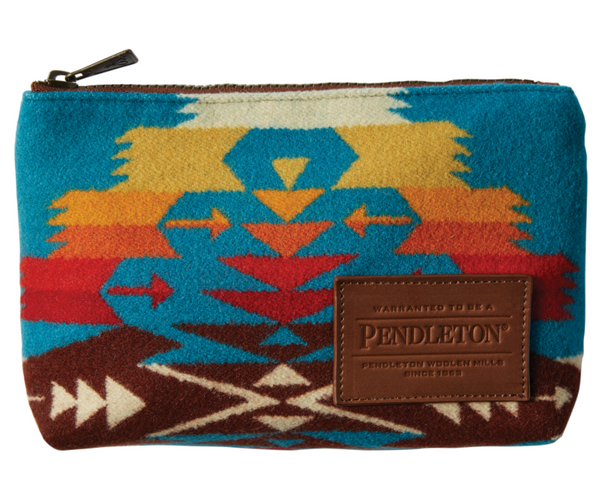 turquoise tucson zip pouch by pendleton, made in the USA, goo size pouch