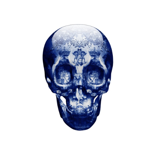 Beautiful skull wall art. Magnus Gjoen Art. Artist. Print. Blue Skull.