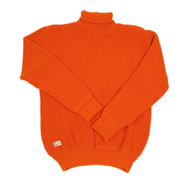 mechanical roll neck jumper. mens roll neck jumper. 100% virgin wool jumper. sweater. menswear. unisex jumper. womens bright orange jumper. heimat jumper. rescue orange jumper. made in germany. sweater. pull over sweater.