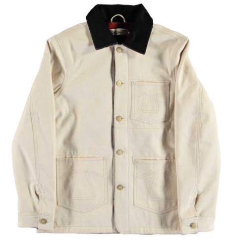 off white denim jacket for men. heavy duty mens cream denim jacket. winter jacket for men. off white winter jacket menswear. eat dust clothing UK stockist.