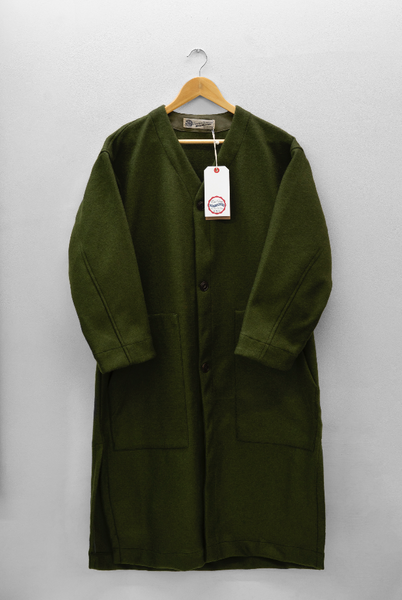 LINER COAT IN KHAKI WOOL - EAT DUST, eat dust, Eat Dust, Mr Mullan's General Store, [variant_title], [option1], [option2], [option3]. We recommend using the default value. Default value is: LINER COAT IN KHAKI WOOL - EAT DUST - Mr Mullan's General Store