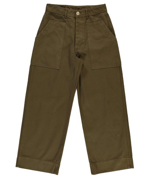 herringbone twill khaki pants by girls of dust. belgium. Eat dust. womens fashion. Buy girls dust uk