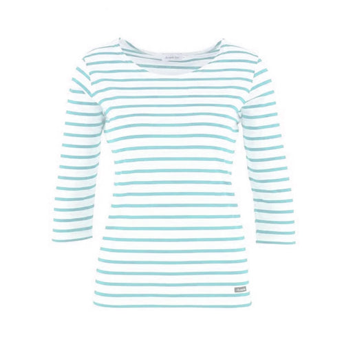 WHITE & AQUA STRIPED TOP 3/4 SLEEVE
