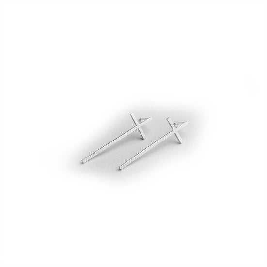 SILVER CROSS EARRING (SMALL)