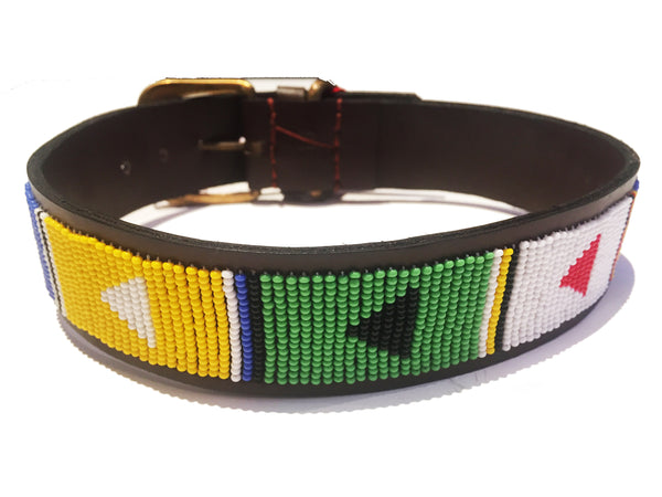 LARGE AFRICAN ANIMAL DOG COLLAR BRIGHT  - BRASS BUCKLE