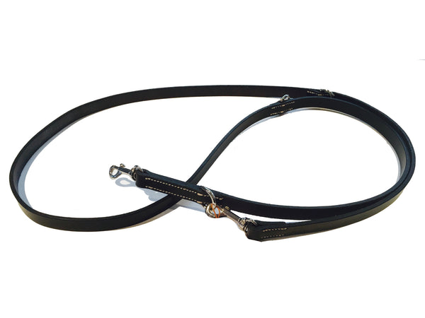 DOG LEAD - BLACK LEATHER - 2M