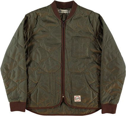 nylon jacket by Eat dus. Kaki quilted nylon mens jacket. Green mens quilted jacket. Eat Dust lightweight jacket.