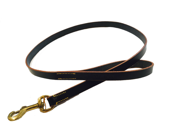 DOG LEAD - BLACK LEATHER 113CM.