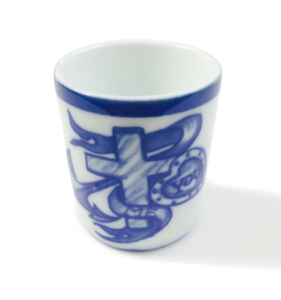 mutti porcelain - swedish design white and blue egg cup or shot glass