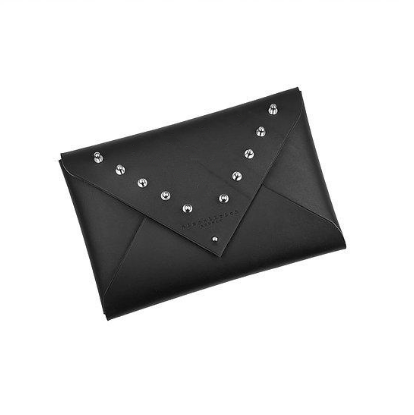 LEATHER ENVELOPE CLUTCH - STUDDED  MEDIUM