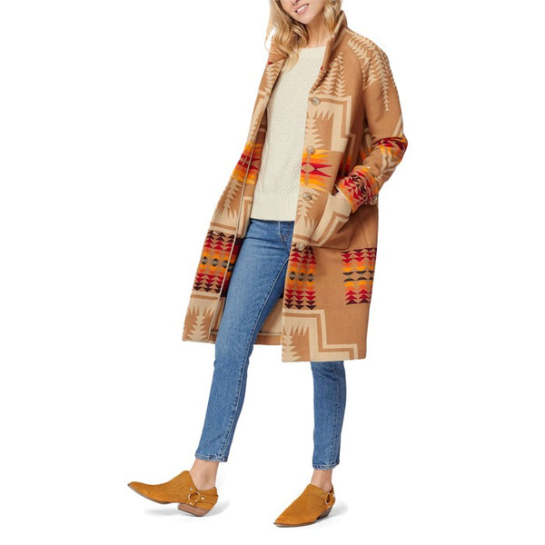 Tan and orange women's wool blend coat available in UK. London stockist. Soho stockist. womens wear. pendleton. Made in USA. Mr Mullan's Perfect Christmas gift. something special.