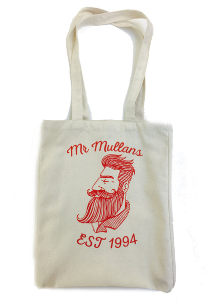 Mr Mullan's Tote bag. Canvas printed shopper. Bearded man on a tote bag design.