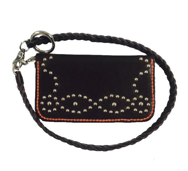leather studded biker wallet