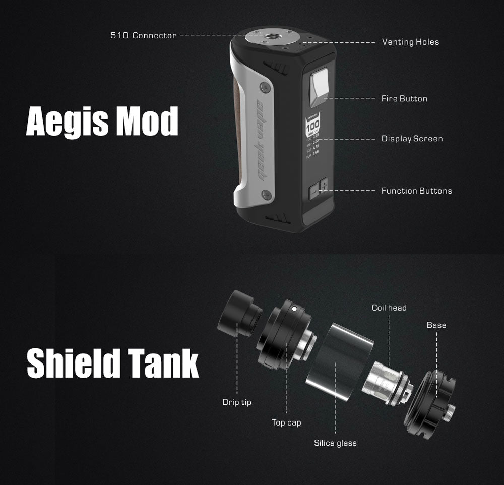 GeekVape Aegis 100W Mod with Shield Tank Kit Details