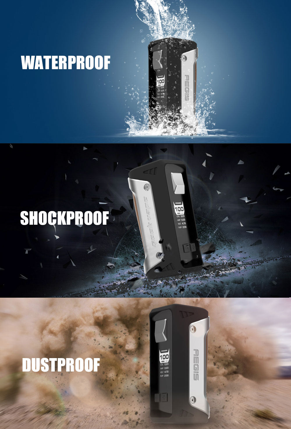 GeekVape Aegis 100W Mod with Shield Tank Kit Waterproof Shockproof Dustproof