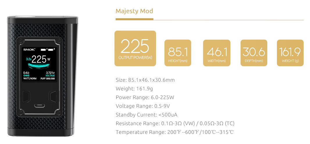 SMOK Majesty 230W TC Box Mod Details