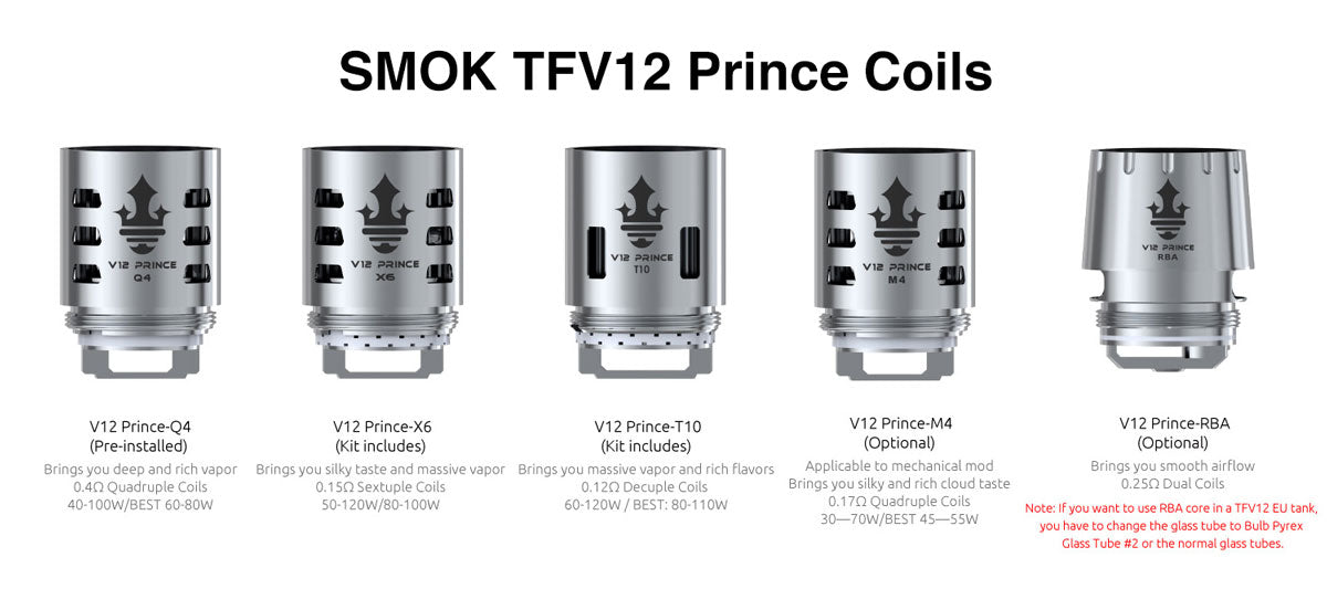 SMOK TFV12 PRINCE Replacement Coil Details