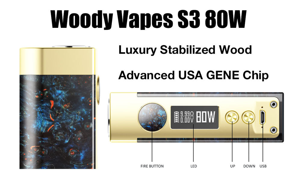 Woody Vapes S3 80W Stabilized Wood TC Box Mod On Sale