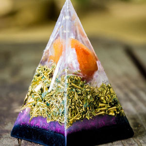 Orgonite® Pyramid - Fire Orange Pink Golden Ratio Black Sun Pyramid