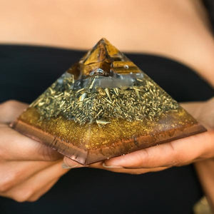 Golden Tigers Eye Copper Base Giza Orgonite® Pyramid
