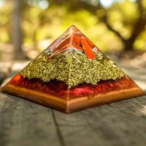 Red Phoenix Jasper Copper Base Giza Orgonite® Pyramid