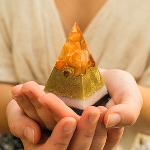 Orgonite® Pyramid- Elite Fire Orange Carnelian Pyramid
