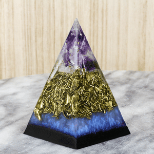 Orgonite® Pyramid - Milky Blue Amethyst Black Sun Pyramid