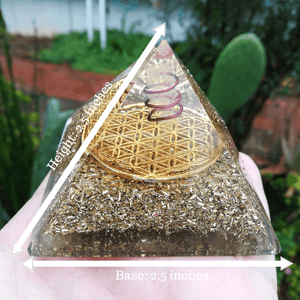 Orgonite® Pyramid-Flower of Life Giza With Quartz Copper Spiral