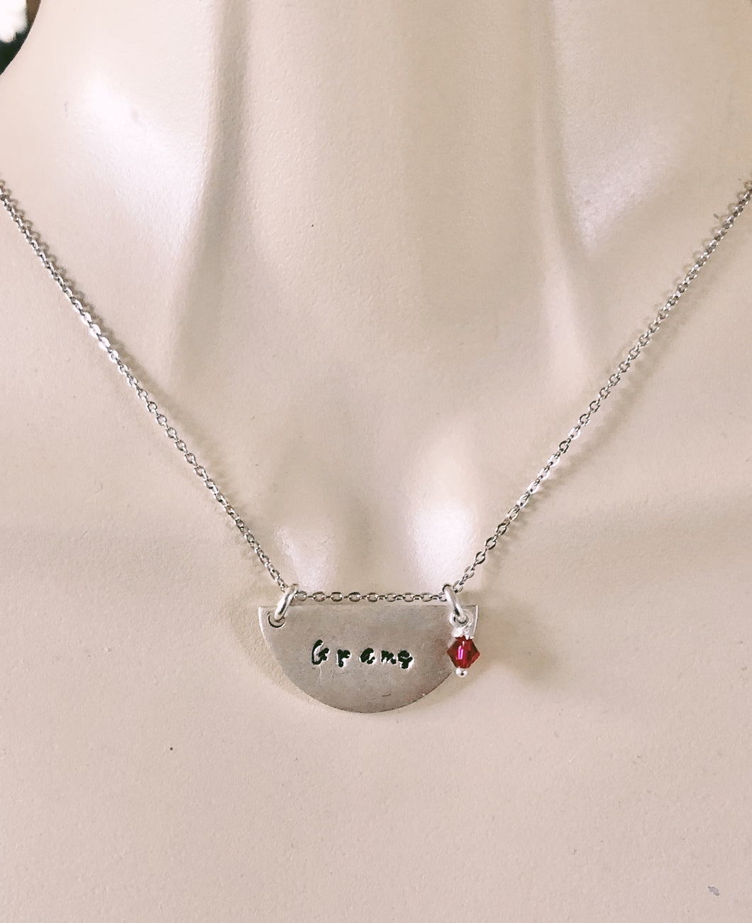 Half Circle Personalized Stamped Necklace
