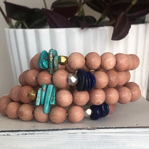 Earthy Wood Gemstone Bracelet