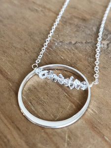 Sterling Circle & Herkimer Diamond Necklace