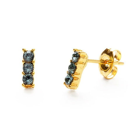 triple crystal studs