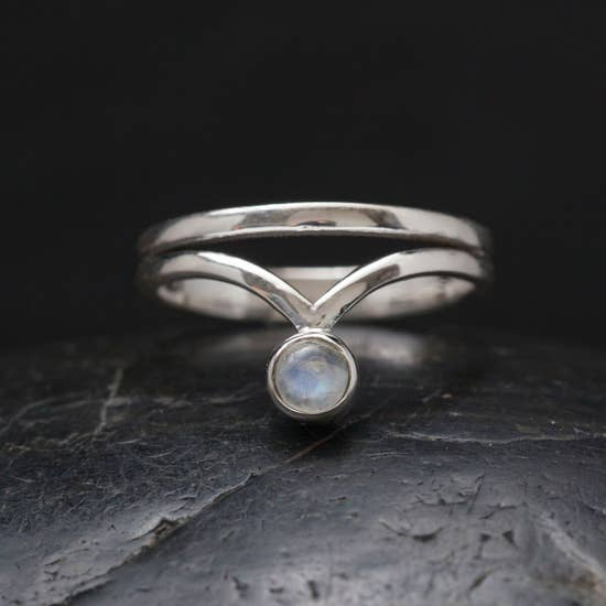 sterling moonstone bar droplet ring