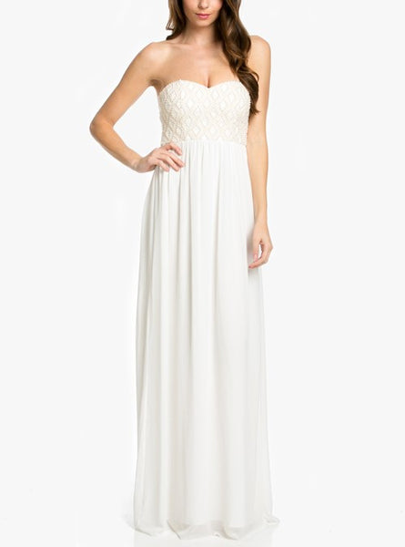 beaded strapless kenly dress