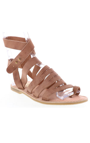 novus brown leather gladiator sandal