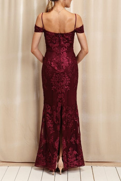 angeline deep wine dress